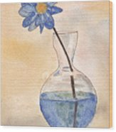 Blue Flower And Glass Vase Sketch Wood Print