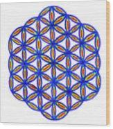 Blue Flower Of Life Wood Print