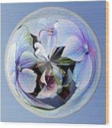 Blue Flower Orb Wood Print