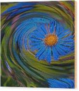 Blue Flower Whirlpool Wood Print