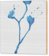 Blue Flowers 1 Wood Print