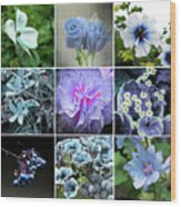 Blue Flowers All Wood Print