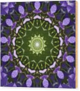 Blue Flowers Kaleidoscope Wood Print