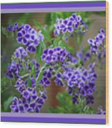 Blue Flowers With Colorful Border Wood Print