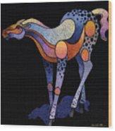 Blue Foal After Frans Marc Wood Print
