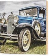 Blue Ford Model A Car Wood Print