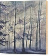 Blue Forest In Winter Wood Print