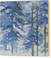 Blue Forrest Wood Print
