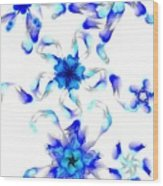 Blue Fractal Flowers Wood Print