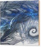 Blue Fractal Storm Wood Print