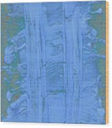Blue Fragments Wood Print