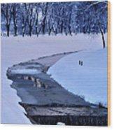 Blue Frozen River Wood Print