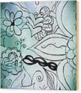 Blue Funky Flower Doodles Wood Print