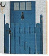 Blue Gate And Door On White House Wood Print