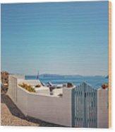 Blue Gate Santorini Wood Print