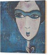 Blue Geisha Love Detail Wood Print