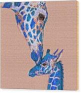 Blue Giraffes 2 Wood Print