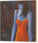 Blue Girl In Red Dress Wood Print by Lynn Chatman