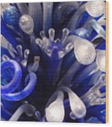 Blue Glass Abstract Wood Print