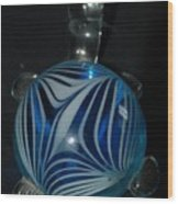 Blue Glass Turtle Wood Print