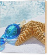 Blue Goggles On A White Towel  Wood Print