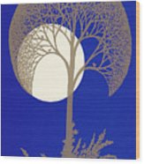 Blue Gold Moon Wood Print