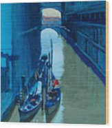 Blue Gondolas Wood Print