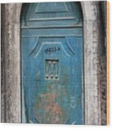 Blue Gothic Door In Venice Wood Print
