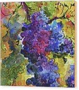 Blue Grapes Wood Print