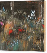 Blue Grass And Wild Flowers Wood Print