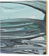 Blue Gray Brush Strokes Abstract Art For Interior Decor V Wood Print