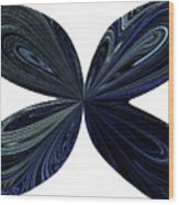 Blue, Green And Black Butterfly Astract Wood Print