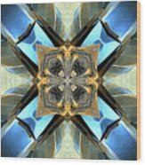 Blue, Green And Gold Abstract Wood Print