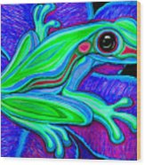 Blue Green Frog Wood Print