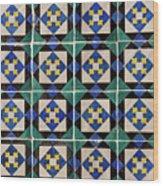 Blue Green Lisbon Tiles Souvenirs Wood Print