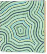 Blue Green Pattern Play Wood Print