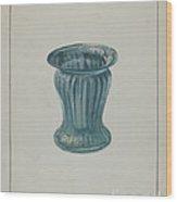 Blue-green Vase Wood Print