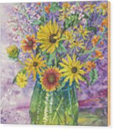 Blue-green Vase Of Wildflowers Wood Print