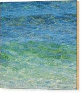 Blue Green Waves Wood Print