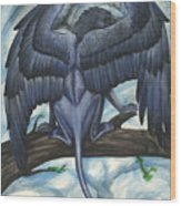 Blue Griffin Wood Print