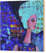 Blue Haired Girl On Windy Day Wood Print