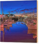 Blue Harbor Red Neon Wood Print