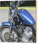 Blue Harley One Wood Print