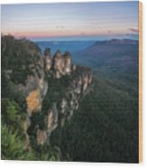 Blue Haze At Sunrise At Ecco Point In Blue Mountains Wood Print