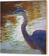 Blue Heron 2 Wood Print