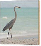 Blue Heron And The Sea Wood Print