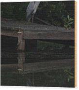 Blue Heron At Dusk Wood Print