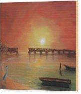 Blue Heron Bay  Wood Print