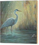 Blue Heron Fishing Wood Print