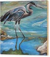 Blue Heron I Wood Print